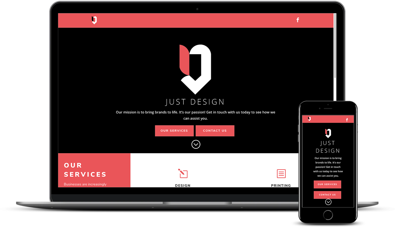 Website design and development for Just Design